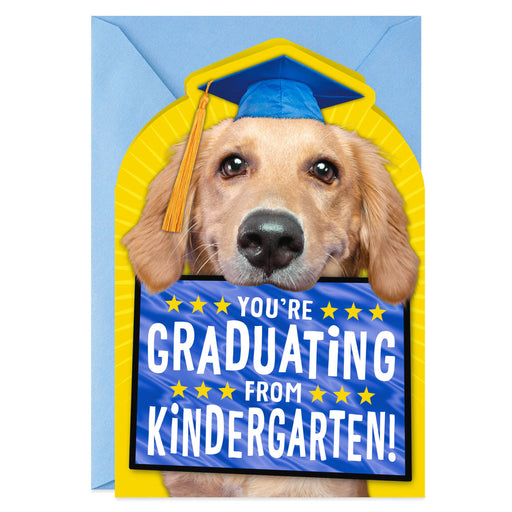 Puppy Dog in Cap Kindergarten Graduation Card