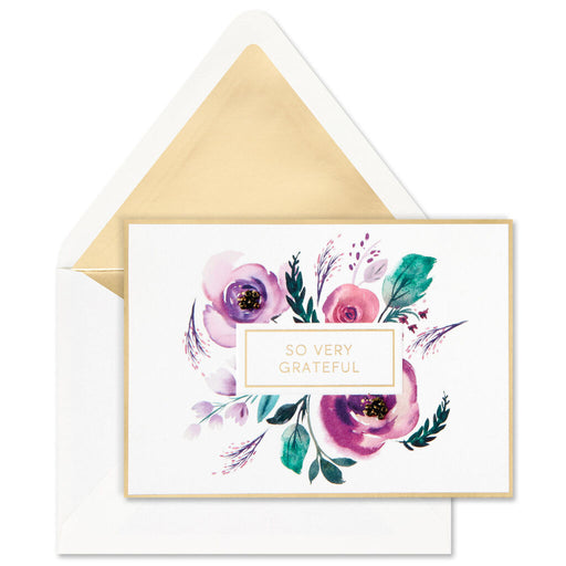 Purple Flowers Blank Thank-You Notes