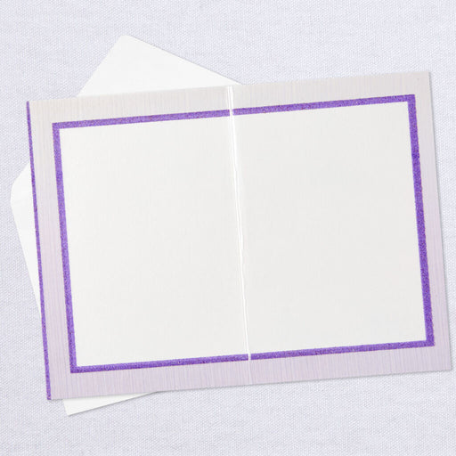 Glittery Purple Flowers Blank Thinking of You Card
