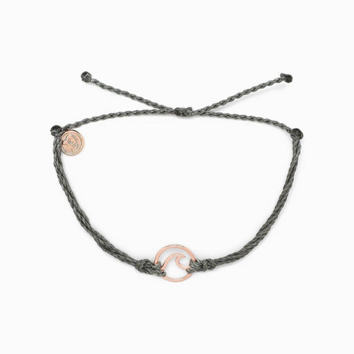 Rose Gold Wave Charm Bracelet in Grey