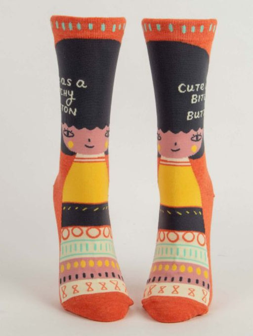Cute As A Bitchy Button Crew Socks
