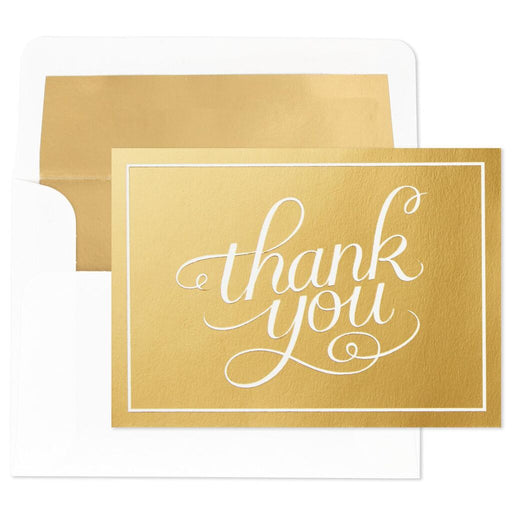 Script on Gold Blank Thank You Notes