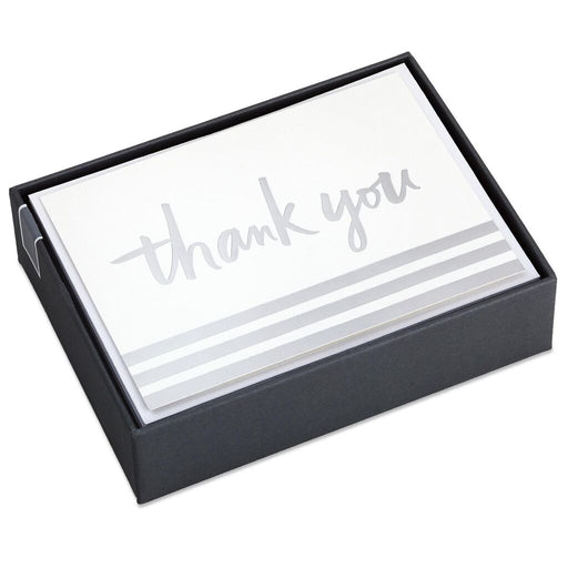 Silver Foil Stripe Blank Thank You Notes