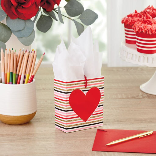 "4.6"" Stripes With Heart Gift Card Holder Mini Bag"