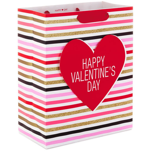 "13"" Stripes With Heart Valentine's Day Gift Bag"