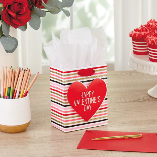 "6.5"" Stripes With Heart Valentine's Day Gift Bag"