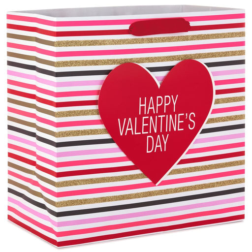 "15"" Stripes With Heart Valentine's Day Gift Bag"
