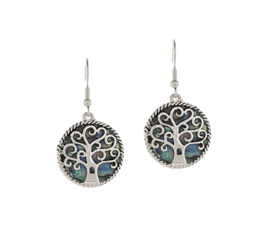 Silver Abalone Tree Earrings