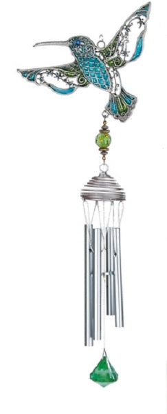 Blue and Green Pewterworks™ Hummingbird Chime