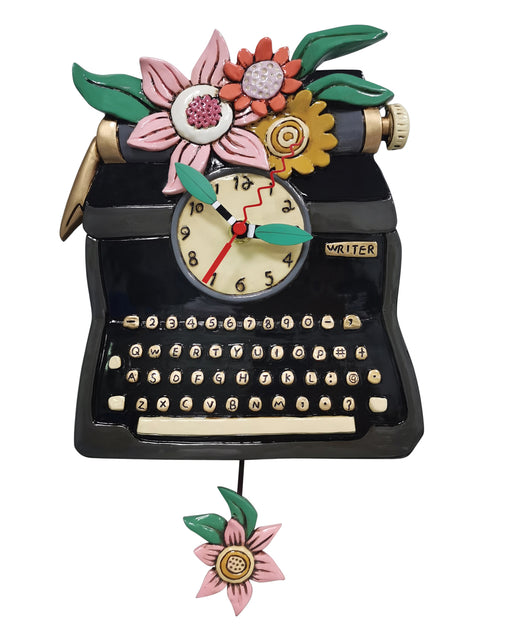 Vintage Black Typewriter Clock