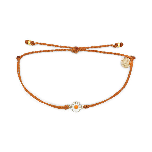 Gold Daisy Charm Bracelet in Burnt Orange