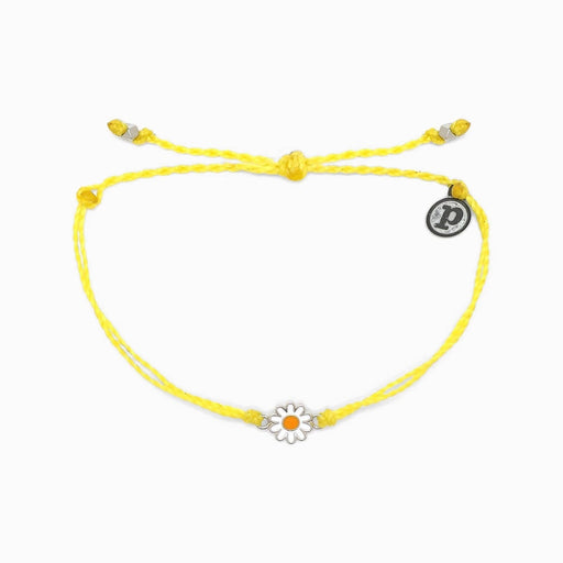 Silver Daisy Charm Bracelet in Yellow