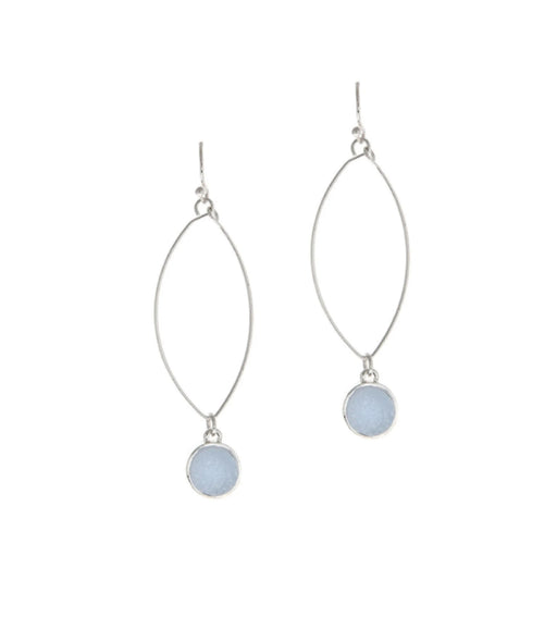 Silver Druzy Ellipse Earrings