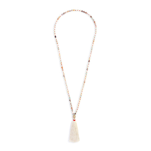 Red Threads Necklace with Cream Tassel and Beads