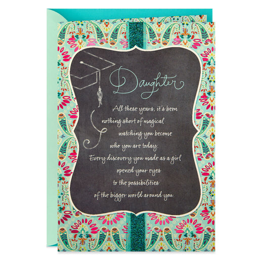 Daughter Chalkboard and Paisley Graduation Card