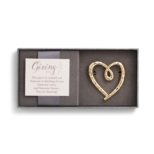 Gold Heart Giving Pin