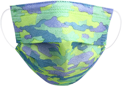 Blue Camo- Kid's Disposable 3-Layer Face Mask (Set of 7)