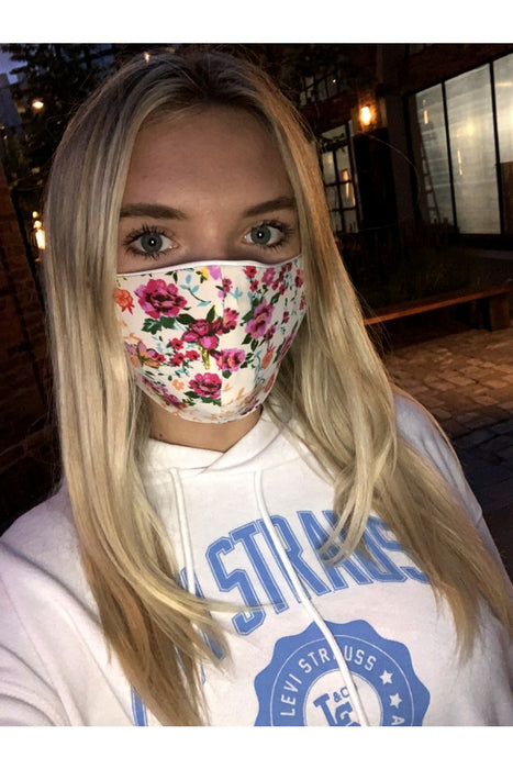 White and Pink Floral Face Mask