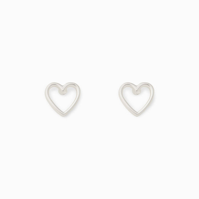 Open Heart Stud Earrings in Silver
