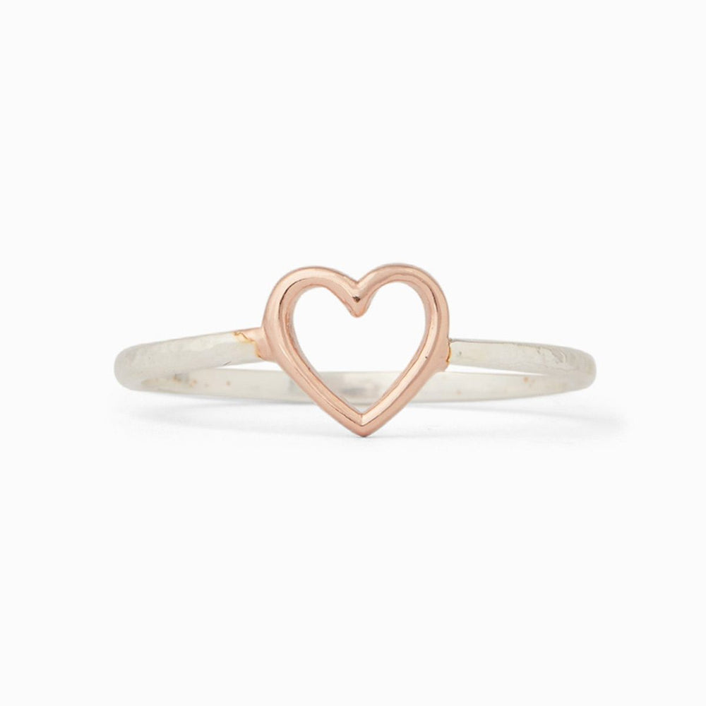 Open Heart Ring in Silver & Rose Gold