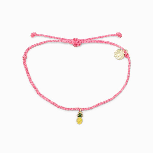 Gold Pineapple Charm Bracelet in Pink