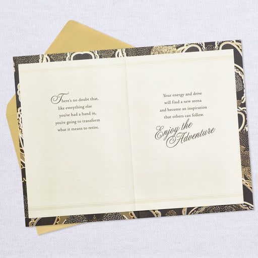 Modern Paisley Black and Gold Retirement Card