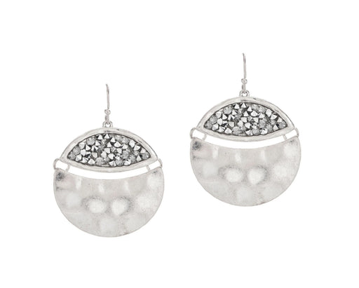 Silver Pave Hinged Circle Earrings