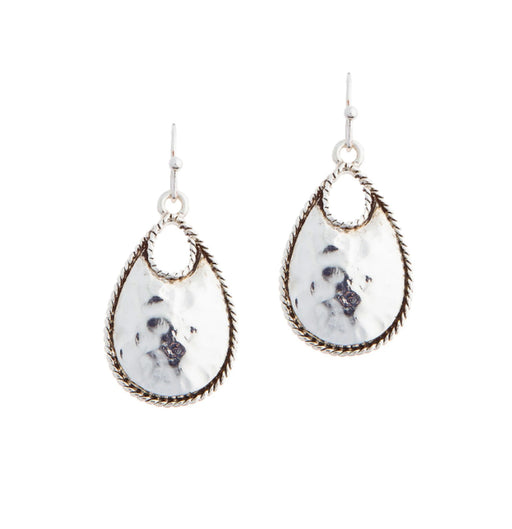 Silver Rope Teardrop Earrings
