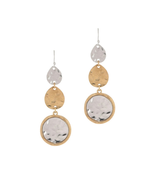 Two Tone Triple Shape Drop Earrings