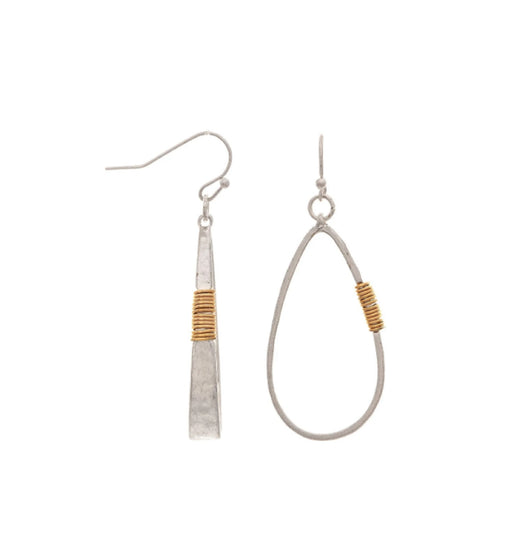 Two Tone Wire Accent Teardrop Earring