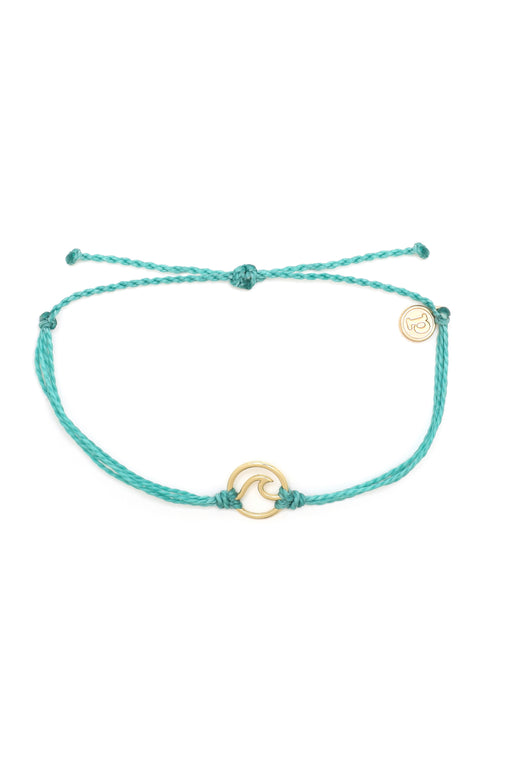Gold Wave Charm Bracelet in Aqua