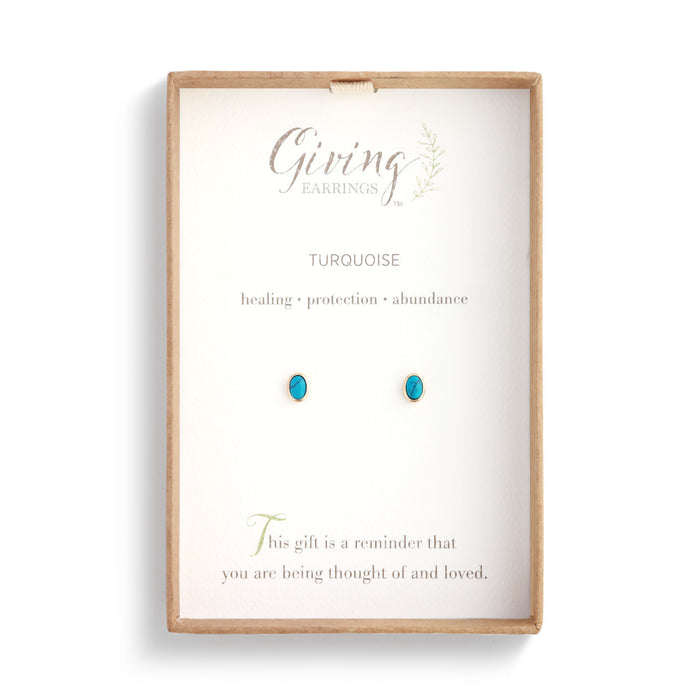 Gold Giving Earrings with Round Turquoise Gemstone