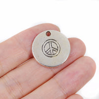 6 Pcs Peace Charm Antique Alloy Jewelry Pendant