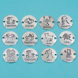 12 Pcs Constellation Charm Antique Silver-tone Pendant