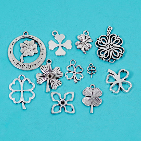 11 Pcs Four Leaf Clover Lucky Charm Antique Silver-tone Pendant
