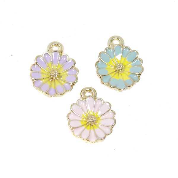 6 Pcs Flower Charms Antique Enamel Pendant 16mm x 13mm