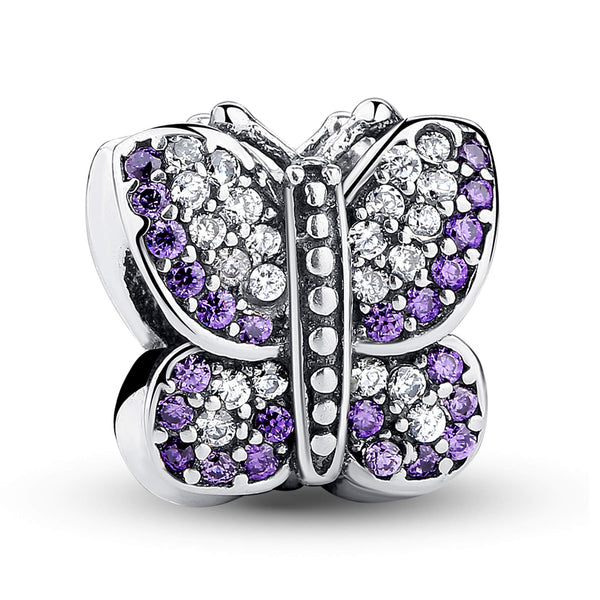 925 Sterling Silver Purple Butterfly Charm Bead for European Charm Bracelet
