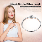Solid 925 Sterling Silver Snap Clasp Classic Bangle Bracelet