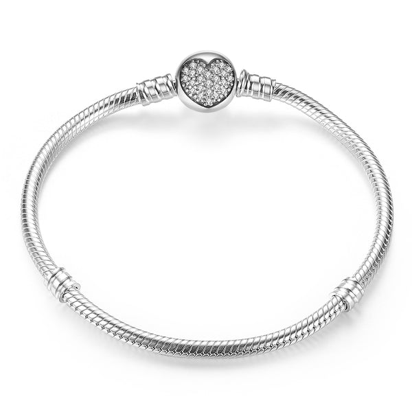 Solid 925 Sterling Silver Heart Pattern Snap Clasp Classic Snake Bracelet