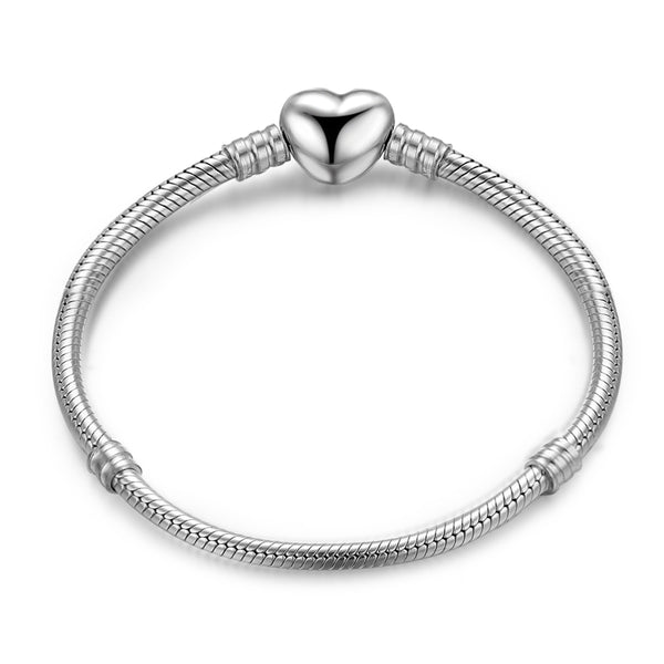 Solid 925 Sterling Silver Heart Snap Clasp Classic Snake Bracelet