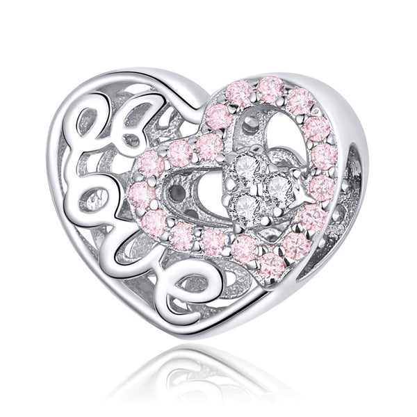 925 Sterling Silver LOVE Charm Bead Fits Pandora Charm Bracelet