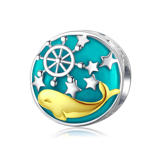 925 Sterling Silver Dolphin Charm Bead for European Charm Bracelet