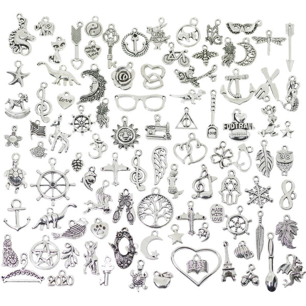100 Pcs Bulk Mixed Tiny Charms for Jewelry Making