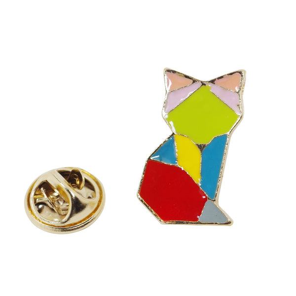 Geometric Fox Enamel Pin With Gift Box