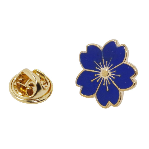 Blue Flower Enamel Pin With Gift Box