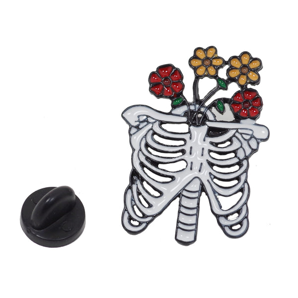 Bone With Flower Halloween Enamel Pin With Gift Box