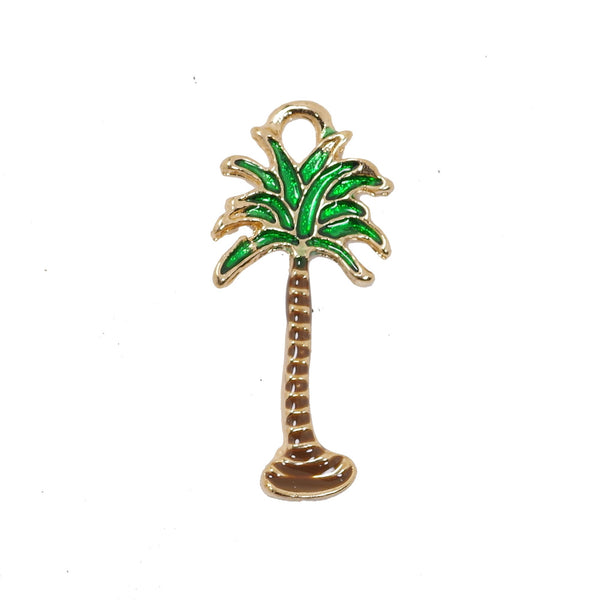 5 Pcs Coconut Tree Charms Antique Enamel Pendant 27mm x 13mm