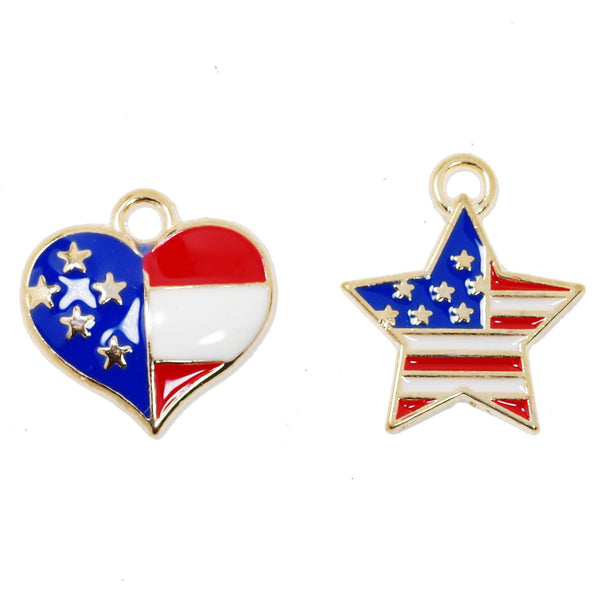 10 Pcs America Flag Charms Antique Enamel Charm Pendant