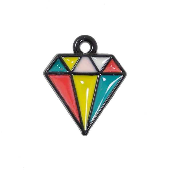 10 Pcs Colorful Diamond Shape Charms Antique Enamel Pendant 15mm x 12mm