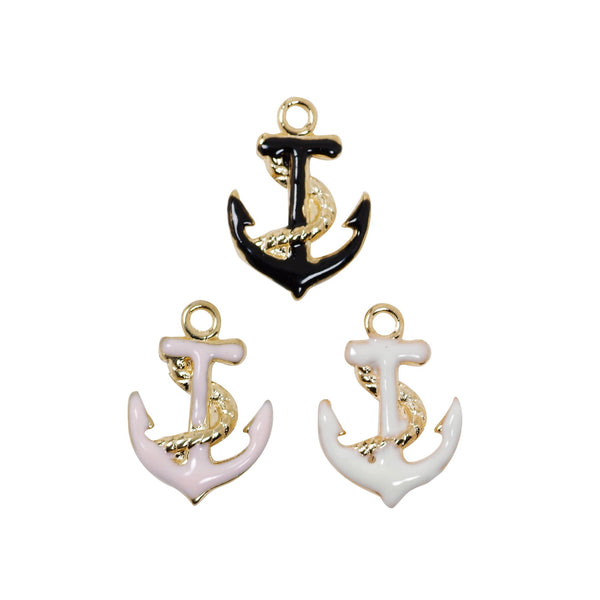 10 Pcs Anchor Lucky Charms Antique Enamel Pendant 17mm x 12mm